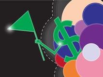 金钱标志哄骗颜色抽象横幅 免版税库存照片