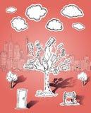 金钱树和企业例证 免版税库存照片