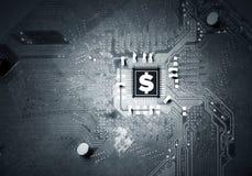 金钱概念和curcuit板 混合画法 库存图片