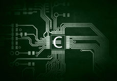 金钱概念和curcuit板 混合画法 免版税库存照片