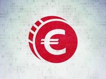 金钱概念:在数字资料纸背景的欧洲硬币 库存图片