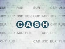 金钱概念:在数字资料纸背景的现金 库存图片