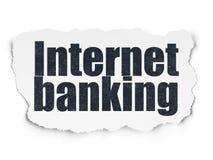金钱概念:在被撕毁的纸背景的互联网银行业务 库存图片