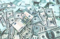 金钱欧洲美元背景 图库摄影