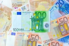 金钱欧洲货币(EUR)作为背景 库存图片