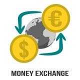 金钱汇兑在美元&欧元与地球在标志标志的中心 免版税库存图片