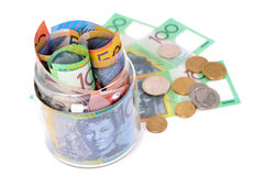 金钱澳大利亚元钞票和硬币 免版税库存图片