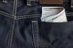 金钱特写镜头在口袋背景文本空间图象的 免版税图库摄影