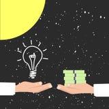 金钱的买的想法,有益的想法波斯菊太阳背景 免版税库存照片