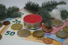 金钱的圣诞节13 Th薪金 免版税库存照片