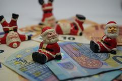 金钱的圣诞节13 Th薪金 免版税库存图片