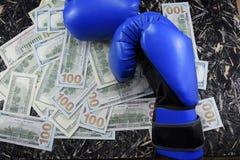 金钱的拳击,金钱的,装箱的美元体育战斗 图库摄影