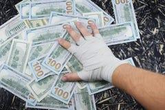 金钱的拳击,金钱的,装箱的美元体育战斗 免版税库存照片