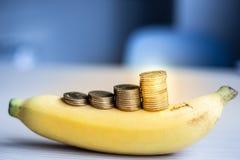 金钱硬币堆积在香蕉的生长事务,保存金钱概念 免版税库存图片
