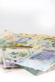金钱罗马尼亚列伊堆 免版税库存照片