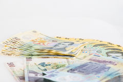 金钱罗马尼亚列伊堆 免版税图库摄影