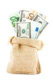 金钱美元和欧元在亚麻制袋子 免版税库存照片