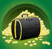 金钱袋子和金币。 免版税库存图片