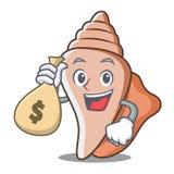 金钱袋子逗人喜爱的壳字符动画片 库存照片
