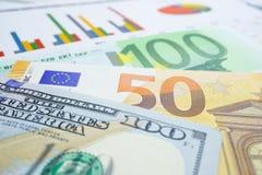 金钱词五颜六色与美元和欧洲钞票:财政发展,会计,统计,分析的投资 免版税库存图片