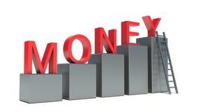 金钱词和倾斜在的梯子持续 免版税库存图片