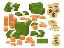 金钱货币例证 各种各样的金融法案美元现金纸钞票和金币 现金堆堆的汇集 向量例证