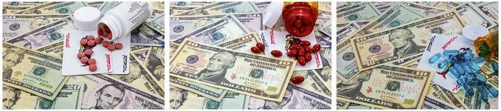 金钱赌博说笑话者习性的药瓶药物 图库摄影