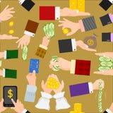 金钱递传染媒介人的商人武器储备纸现金美元堆买,帐单支付或银行投资财务 库存照片