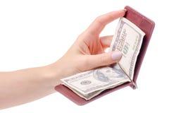 金钱金钱钱包的美元夹子在手中 免版税库存照片
