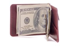 金钱金钱钱包的美元夹子 库存图片