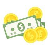 金钱钞票&硬币平的象在白色 免版税库存图片