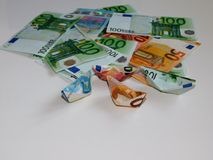 金钱,欧元,船,现金,票据 免版税库存照片