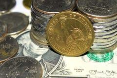 金钱,钞票,票据, USD,欧元,硬币,便士,角钱,处所 免版税图库摄影