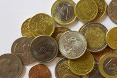 金钱,钞票,票据, USD,欧元,硬币,便士,角钱,处所 免版税库存图片