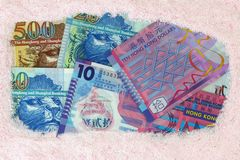 金钱洗衣店:港元钞票 图库摄影