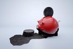黑金钱/非法钱财/油金钱在存钱罐中 免版税库存图片