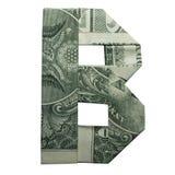 金钱Origami在B字符真正的一在白色背景隔绝的美金上写字 免版税库存照片