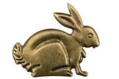 金银细丝工以野兔的形式,装饰元素的外形 免版税库存图片