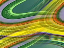 金银铜合金绿色桔子弄脏了流体线背景,抽象五颜六色的几何 库存例证