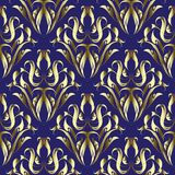 金锦缎花卉传染媒介无缝的样式 装饰高雅深蓝背景 金黄葡萄酒花,叶子,漩涡, 库存例证