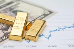 金锭在美国美元钞票金钱的锭堆和 免版税库存图片