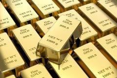 金锭,金制马上的齿龈 免版税库存图片