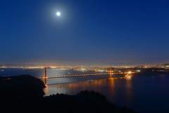 金门大桥在晚上,旧金山,美国 图库摄影