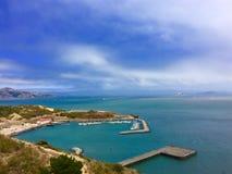 金门大桥海湾视图 免版税图库摄影