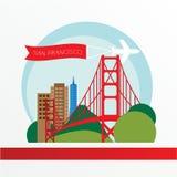 金门桥-美国,旧金山的标志 与红色丝带的葡萄酒邮票 免版税图库摄影