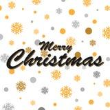 金闪烁的雪花和圣诞快乐书信设计 图库摄影