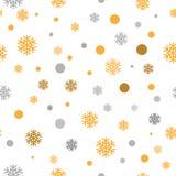 金闪烁的雪花无缝的样式背景,传染媒介 免版税库存照片