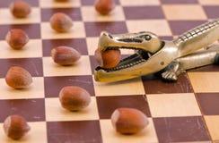 金鳄鱼螺母在棋盘的易碎工具 免版税库存图片