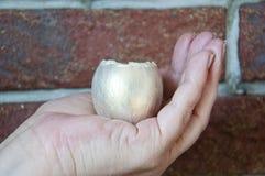 金鸡蛋在手中,金属 复活节,与传统复活节的手工制造鸡蛋设计 未来的生活、现金上涨和挽救概念 Bu 图库摄影