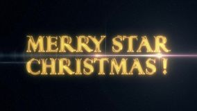 金黄与发光的轻的光学火光动画的黄色激光霓虹快活的星圣诞节文本在新黑的背景- 库存例证